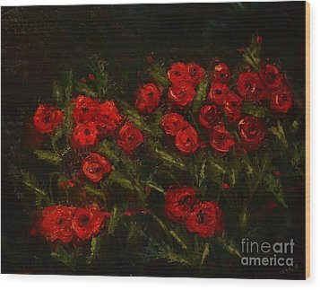 Symphony In Coquelicot Wood Print by Denise Tomasura
