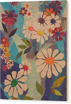 Wood Print featuring the mixed media Symphony Of Flowers by Diane Miller