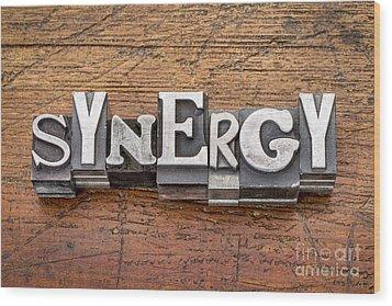 Synergy Word In Metal Type Wood Print