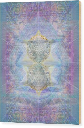 Synthecentered Doublestar Chalice In Blueaurayed Multivortexes On Tapestry Lg Wood Print by Christopher Pringer