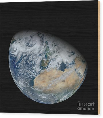 Synthesized View Of Earth Showing North Wood Print by Stocktrek Images