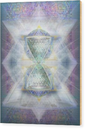 Synthesphered Chalice Fifouray Star On Tapestry Wood Print by Christopher Pringer