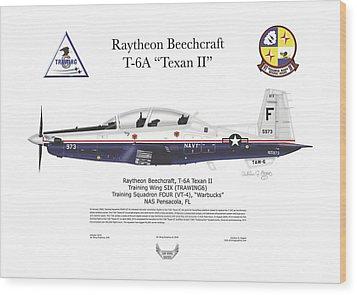 Wood Print featuring the digital art T-6a Jpats Texan II by Arthur Eggers