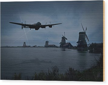Dambusters Lancaster T For Tommy En Route To The Sorpe Wood Print by Gary Eason