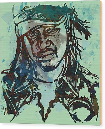 T-pain Faheem Rasheed Najm Stylised Etching Pop Art Poster Wood Print by Kim Wang