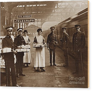 The Red Cross And St. John's Ambulance Brigade During Ww1 England Wood Print by The Keasbury-Gordon Photograph Archive