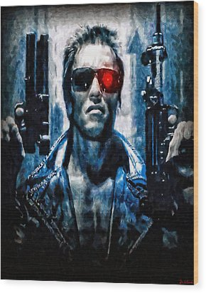 T800 Terminator Wood Print by Joe Misrasi