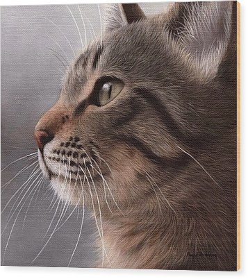 Tabby Cat Painting Wood Print