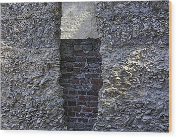 Tabby Wall With Red Brick Infill Wood Print by Lynn Palmer