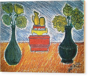 Table And Vases Wood Print by Neil Stuart Coffey