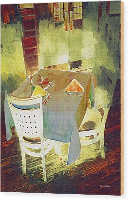Table At The Fauve Cafe Wood Print by RC deWinter