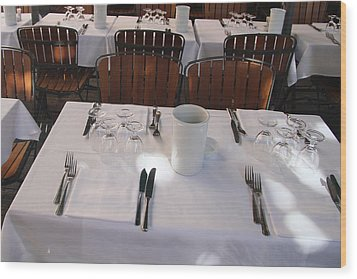 Table For Four Wood Print by John Bushnell
