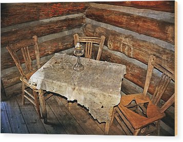 Table For Three Wood Print by Marty Koch