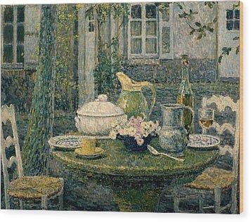 Table Laden For Spring Wood Print by Henry Eugene Le Sidaner