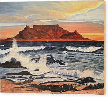 Table Mountain At Sunset Wood Print by Hilda and Jose Garrancho