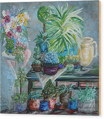 Table Of A Plant Lover Wood Print by Eloise Schneider