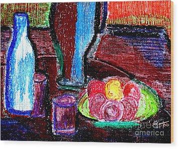 Table On Rue Cadet Wood Print by Bill OConnor
