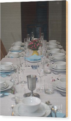 Table Set For A Jewish Festive Meal Wood Print by Ilan Rosen