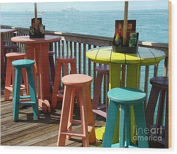 Tables With A View Wood Print by Eva Kato
