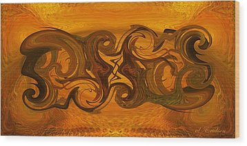Wood Print featuring the digital art Tablet Xii by rd Erickson