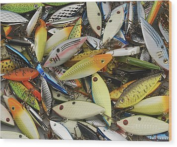 Tackle Box Tangle Wood Print by Jerry McElroy