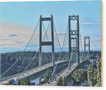 Tacoma Narrows Bridge 51 Wood Print by Ron Roberts