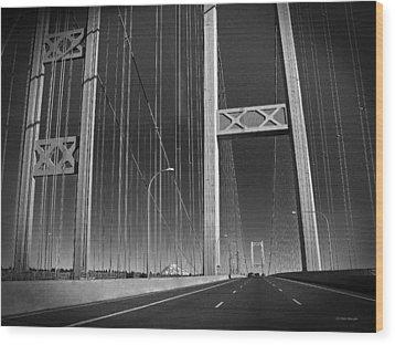 Tacoma Narrows Bridge B W Wood Print by Connie Fox
