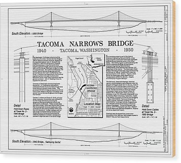 Tacoma Narrows Bridge Habs P1 Wood Print by Photo Researchers