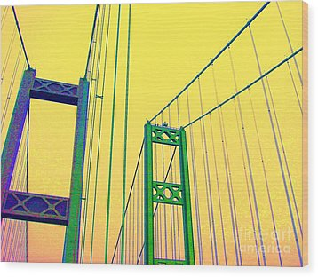 Wood Print featuring the photograph Tacoma Narrows Yellow by Ann Johndro-Collins