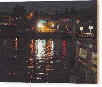Tacoma Waterfront At Night On Ruston Way Wood Print by Sadie Reneau
