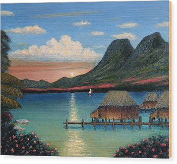 Tahitian Sunset Wood Print