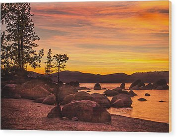 Wood Print featuring the photograph Tahoe Golden Sunset by Steven Bateson