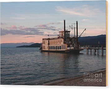 Wood Print featuring the photograph Tahoe Queen Riverboat On Lake Tahoe California by Paul Topp