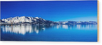 Tahoe Reflection Wood Print by Mike Lee