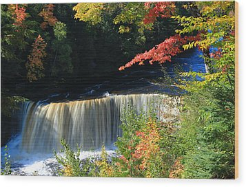 Tahquamenon Falls Autumn Wood Print by Rachel Cohen