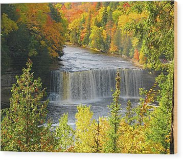 Tahquamenon Falls In October Wood Print by Keith Stokes