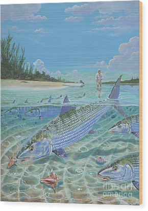 Tailing Bonefish In003 Wood Print by Carey Chen