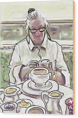 Wood Print featuring the painting Taj Breakfast by Jean Pacheco Ravinski