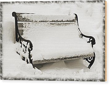 Take A Seat  And Chill Out - Park Bench - Winter - Snow Storm Bw 2 Wood Print by Andee Design
