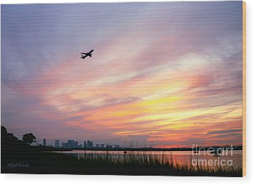 Take Off At Sunset In 1984 Wood Print by Michelle Wiarda