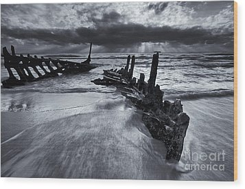 Taken By The Sea Wood Print by Mike  Dawson