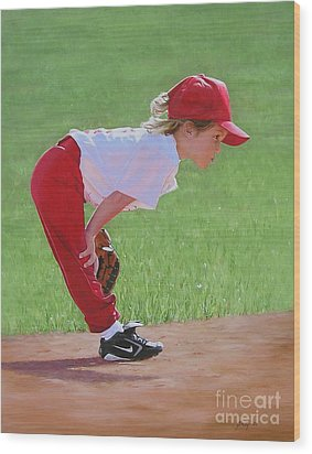 Taking An Infield Position Wood Print by Emily Land