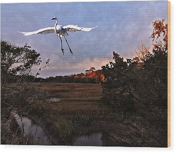 Wood Print featuring the photograph Taking Flight by Laura Ragland