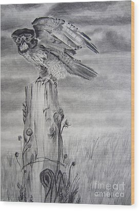 Wood Print featuring the drawing Taking Flight by Laurianna Taylor