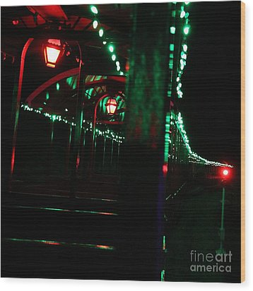Taking In The Lights Riding The Rails Wood Print by Scott Allison