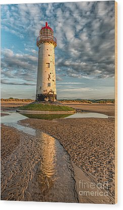 Talacre Lighthouse Sunset Wood Print by Adrian Evans