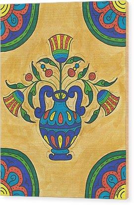 Talavera Flora 2 Wood Print by Susie WEBER