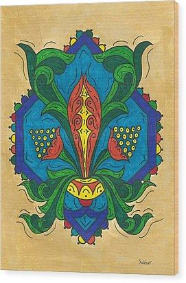 Talavera Flora Wood Print by Susie WEBER