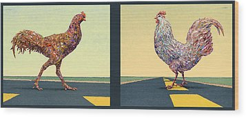 Tale Of Two Chickens Wood Print by James W Johnson