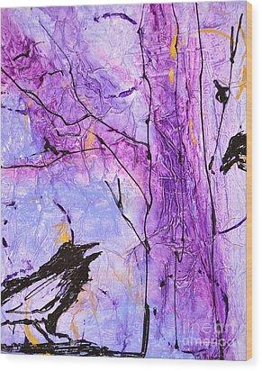 Talking Crows Wood Print
